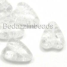 Set of 4 Crystal Clear Czech Glass 16mm Crackle Heart Beads w/Cracked Inclusions