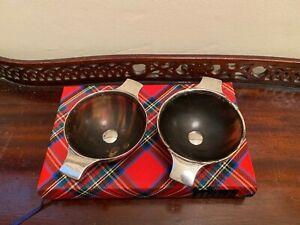 Antique Scottish Silver & Horn Quaich Pair