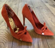 "Ted Baker ""Gewell"" Bright Orange Suede Bow Detail Court Shoe Size UK 6 Eur 39"