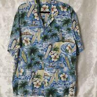 Royal Creations Blue Multi Print Aloha Hawaiian Shirt Mens 2XL