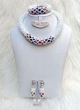 White with Multi color Necklace Bracelet Party Wedding Bridal Jewellery Set