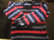 "Hand Knit Girls Sweater Multi Colored "" NEW Super Soft Size 6 Blues and Pink"