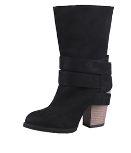 Womens Buckle Suede Mid Calf Boots European Style Roman Chunky Block Heel Shoes