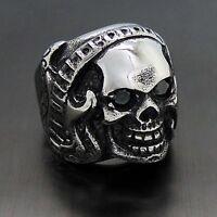 Men's Rock Music Guitar Black CZ Skull 316L Stainless Steel Biker Ring