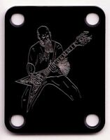 GUITAR NECK PLATE Custom Engraved Etched - KERRY KING - SLAYER - BLACK
