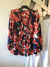 YARRA TRAIL Navy Blue Red White Petites Long Sleeve Tunic Pleat Top Blouse PC 12