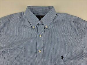 NEW Ralph Lauren Cotton Stretch LT Blue Striped Shirt Long Sleeve Button Down T