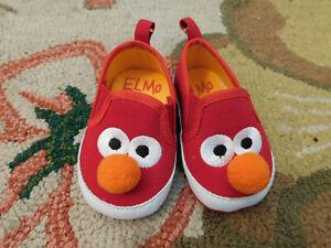 Sesame Street Elmo Sneakers Crib Shoes Baby sz 1 3-6 mo Red Orange Pom Pom Nose