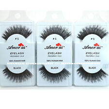 3 Pairs AmorUs 100% Human Hair False Eyelashes #5 compare Red Cherry
