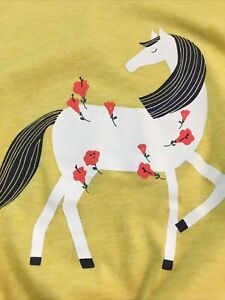 TEA COLLECTION Yellow Graphic T-shirt Horse 🐎 Size 8- Lovely!
