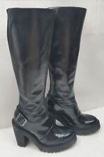 Doc Dr.Martens Womens Boots Lyanna Polished Knee High Tall Black Leather Size: 5