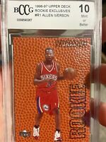 1996-97 Upper Deck Rookie Exclusives Allen Iverson R1 RC BCCG 10 Mint 76ers wow