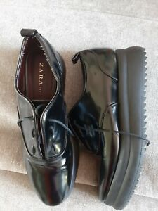 6 Zara Trafaluc Black Patent Creeper Lace Up Thick Cleated Sole Platform Shoes
