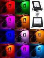 30W 50W Slim RGB LED Flood Light Floodlight Spot Garden Waterproof + IR Remote