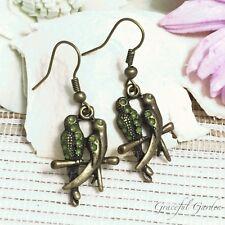 Er2842 Graceful Garden Vintage Style Green Enamel 2 Birds on Branch Earrings
