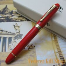 Jinhao X450 Red and Gold clip Fountain Pen 0.7mm Broad Nib 18KGP Golden Trim