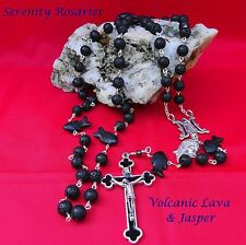 Man's Rosary handcrafted in Volcanic Lava beads with hand carved Jasper Paters