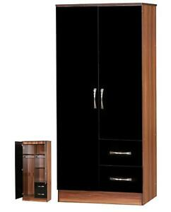 MARINA BLACK GLOSS & WALNUT COMBI 2 DOOR WARDROBE W/ HANGING RAIL W/ 2 DRAWERS