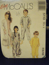 McCall's 5110 Toddler's Jumpsuit Pajamas, Bootees & Bag Pattern - Size 2