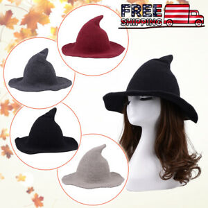 Women Witch Hat Halloween Modern Winnter Fall Fashion Hat Sheep Foldable Wool US