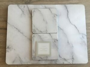 Modern Contemporary White Marble Effect 4 Placemats & 4 Coasters Set Large 33x25