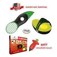 Avocado Slicer Scooper Pitter 3in1, Avocado Preserver, Bonus Strawberry Huller