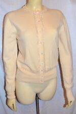 ESTATE VINTAGE SAKS 100% cashere BEADED cardigan Huntly Sweater S M creamy