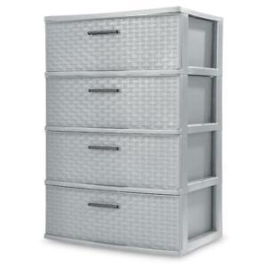 Wide Weave Tower Cement Storage Drawer Organizer 4 Tier