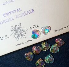 VINTAGE SWAROVSKI AURORA BOREALIS FACETED CRYSTAL JEWELRY HEARTS 10 PCS CLEAR