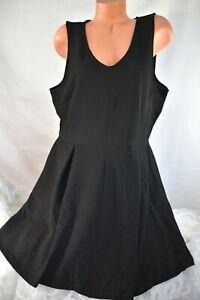 ATTENTION (XXL) Dress BLACK Textured Knit Fit & Flare Betty Dress Pleat Stretch