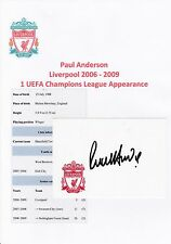 PAUL ANDERSON LIVERPOOL 2006-2009 ORIGINAL HAND SIGNED CRESTED CARD