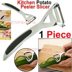 Chrome Alloy Potato Peeler Kitchen Vegetable Fruit Slicer Speed Rapid Tool UK
