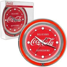 """Coca-Cola Clock Vintage Style Electric Double Neon Lighted Advertising Sign 14"""""""
