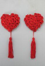 Gothic Red Rose Tasseled Nipple Covers Pasties Burlesque GAGA Burlesque