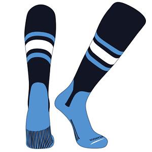 PEARSOX Elite Baseball Knee High Stirrup Socks (E, 5in) Navy, Sky Blue, White,