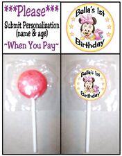 24 Baby Minnie Mouse Birthday Party Shower Lollipop Sticker Invitation Seals