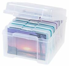 Craft Storage Box Photo Keeper Container Plastic Organizer Case Clear