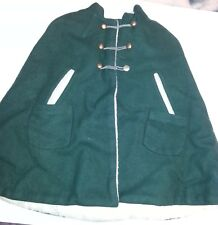Child's Green Wool Lined Cape, custom made, Girls Size 5, Vintage