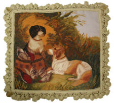 "16"" x 18"" Handmade Wool Needlepoint Hunting Dog and Pheasant Bird Pillow"