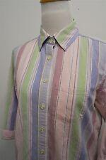 L.L. Bean green pink button down 3/4 sleeve shirt top blouse XS womens L/S#9068