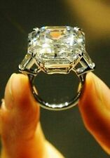 14K Solid Gold Certified 11CT White Asscher Cut Diamond Bridal Loving Ring