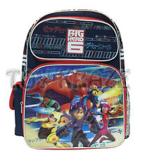 "BIG HERO 6 BACKPACK! NAVY BLUE & RED LARGE BOYS SCHOOL BAG 16"" NWT"