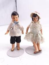 """Antique Miniature Germany German Composition Boy & Girl Doll 4"""" Tall Vintage Old"""