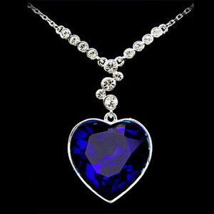 Halskette Titanic Herz des Ozean Kristall Collier Halskette Liebe blau Strass
