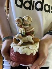 Music Box Porcelain Boy And Girl W/ Dog - It Plays We Wish You a Merry Christmas