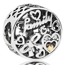 PANDORA Charm Element 796267 CZ  Family Silber Gold Bead