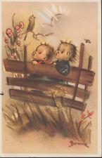 Boy & Girl Park Bench Bommar Art Vintage 3¢ Gadsen Commemorative Stamp PC Rare