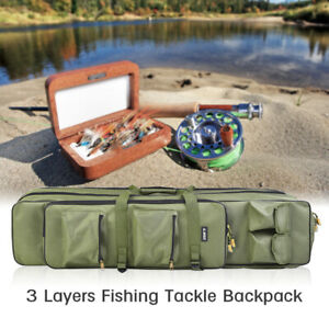 1M Fishing Bag Rod Lure Carry 3 Layers Travel Tackle Pole Storage Case Foldtable