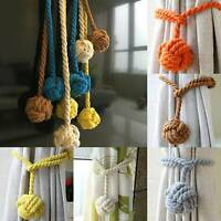 A Pair of Rope Ball Curtain Tie backs Holdbacks Curtains & Voiles curtain rope