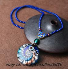Chinese Style Coloured Glaze/Cloisonne Enamel Flower/Blue Stone Necklace Pendant